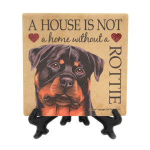 Animal ROTTWEILER- HOME Stone Cork Back Coaster Easel 24659