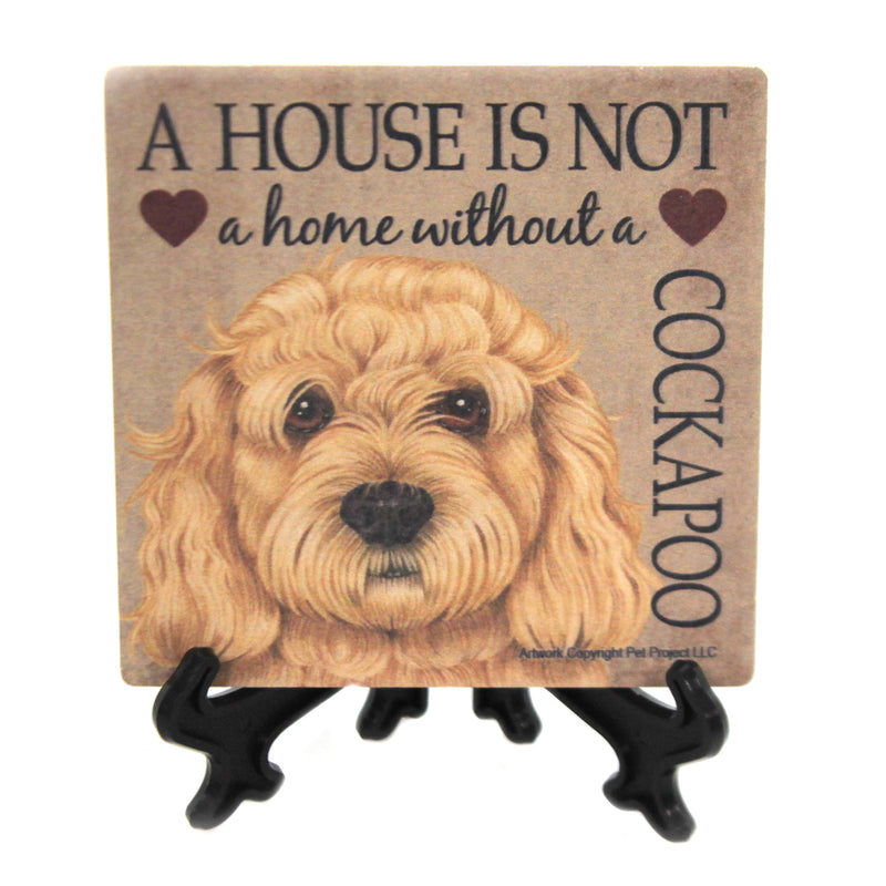 Animal COCKAPOO - HOME Stone Cork Back Coaster Easel 24689