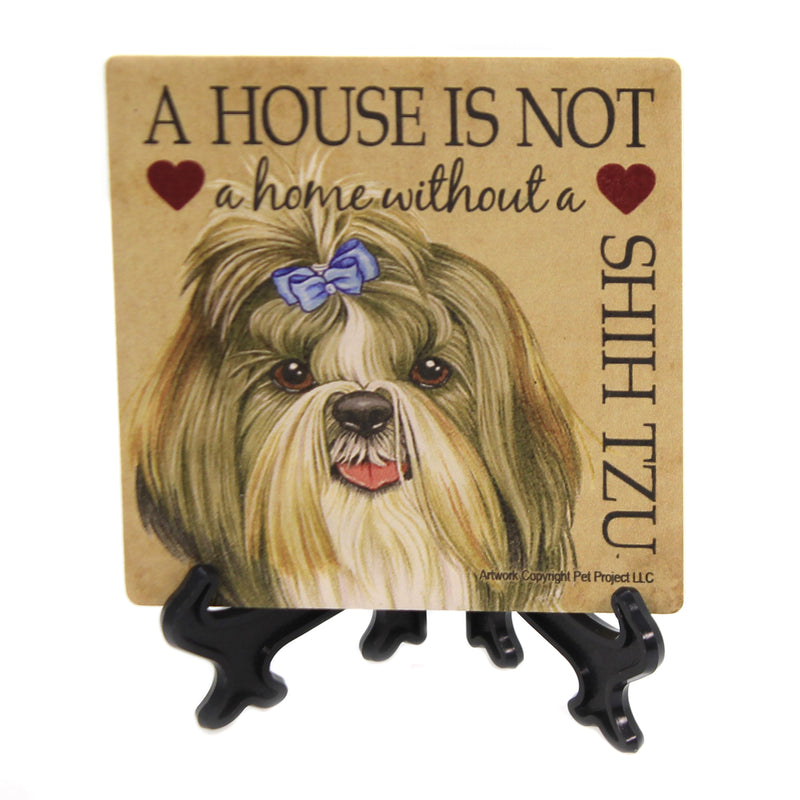 Animal SHIH TZU HOME Stone Cork Back Coaster Easel 24666