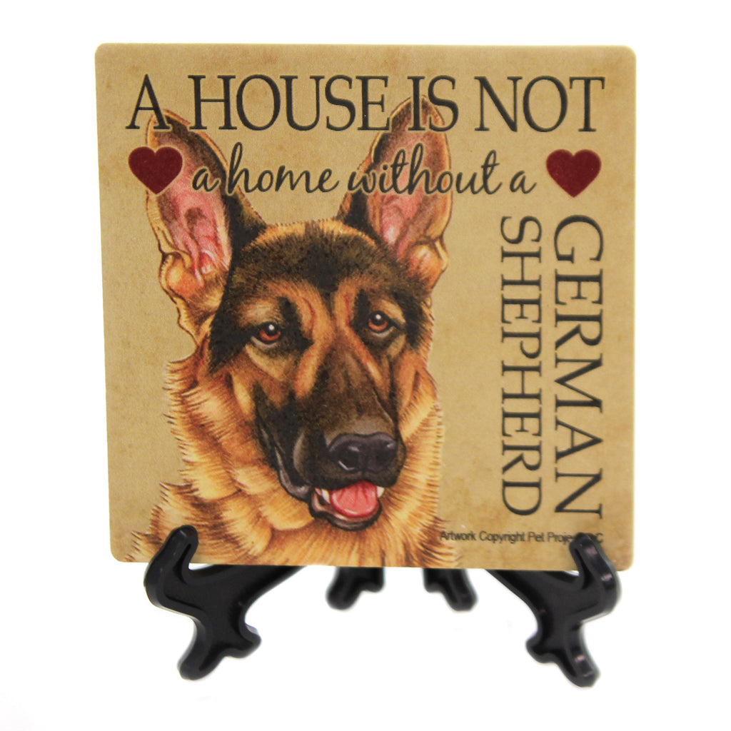 Animal GERMAN SHEPHARD - HOUSE Stone Stone Coaster Easel 24637