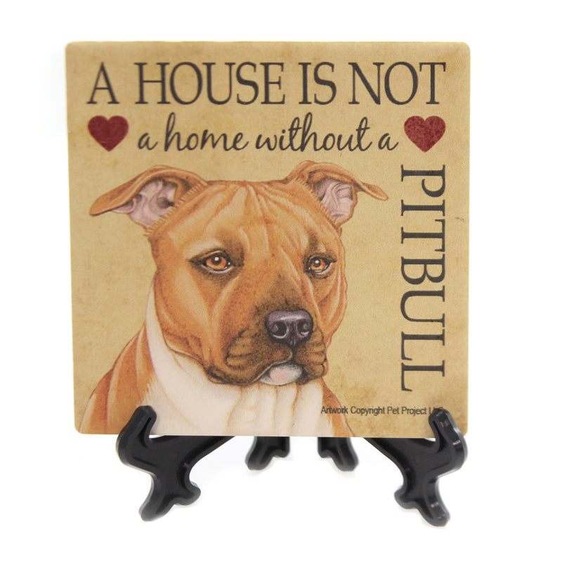 Animal PITBULL - HOUSE Stone Stone Coaster Easel 24653