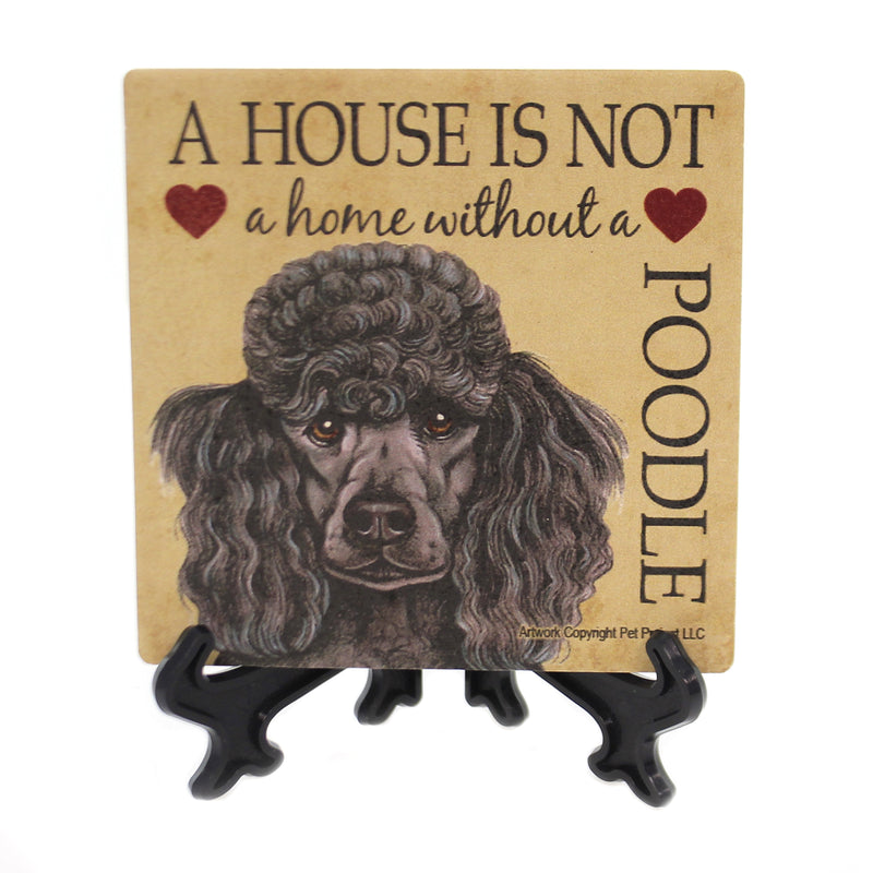 Animal POODLE - HOUSE. Stone Stone Coaster Easel 24655