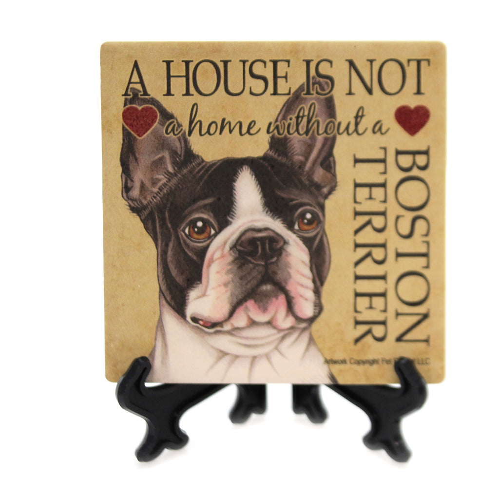 Animal BOSTON TERRIER - HOUSE Stone Stone Coaster Easel 24613