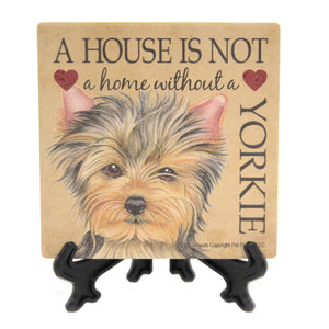 Animal YORKIE - HOME Stone Cork Back Coaster Easel 24678