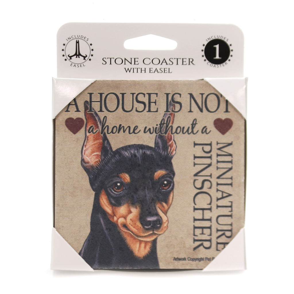 Animal MINIATURE PINSCHER - HOUSE Stone Stone Coaster Easel 24647
