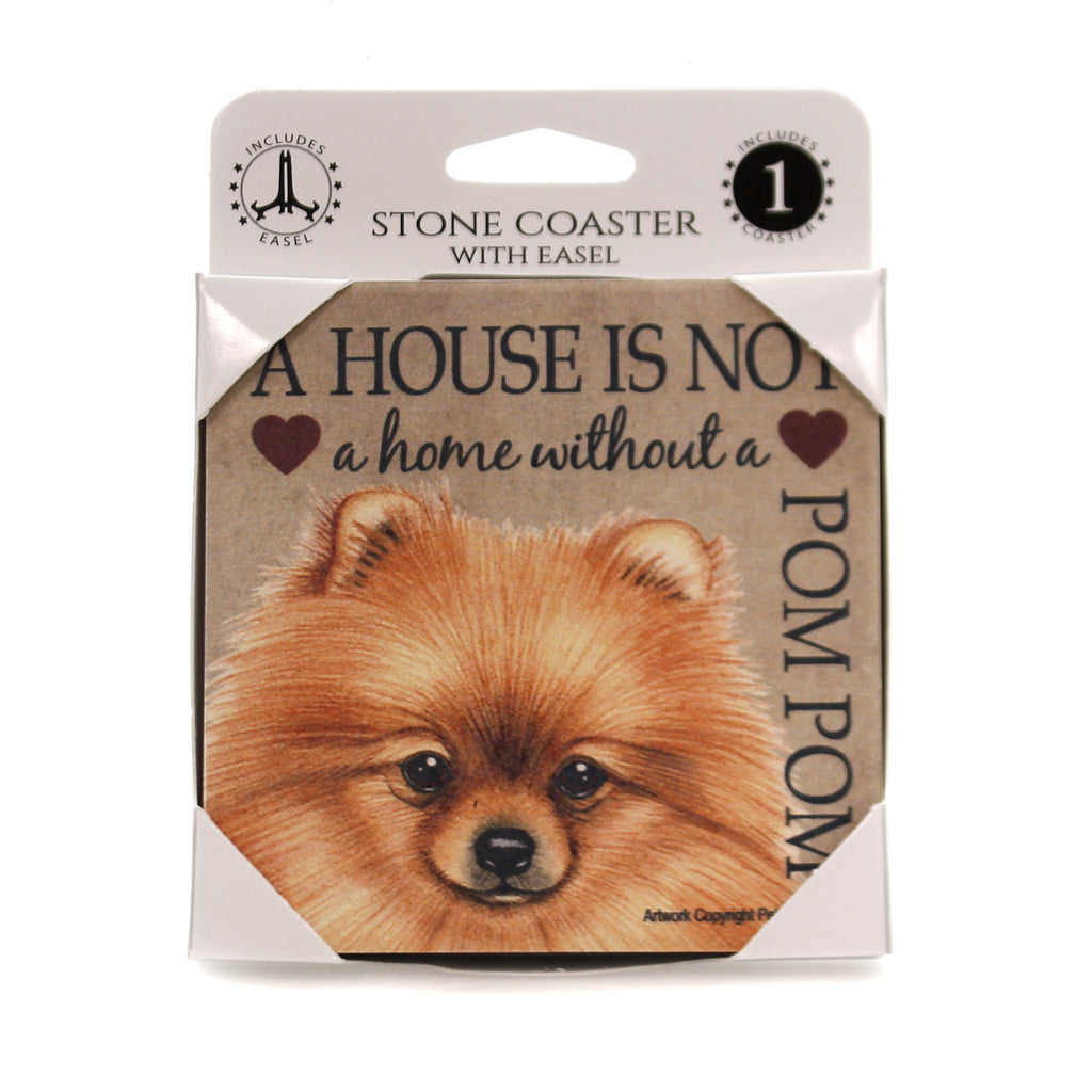 Animal POM POM - HOUSE Stone Stone Coaster Easel 24654