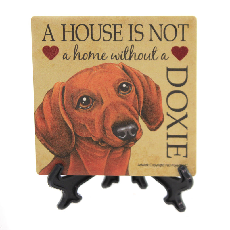 Animal DOXIE - HOUSE. Stone Stone Coaster Easel 24632