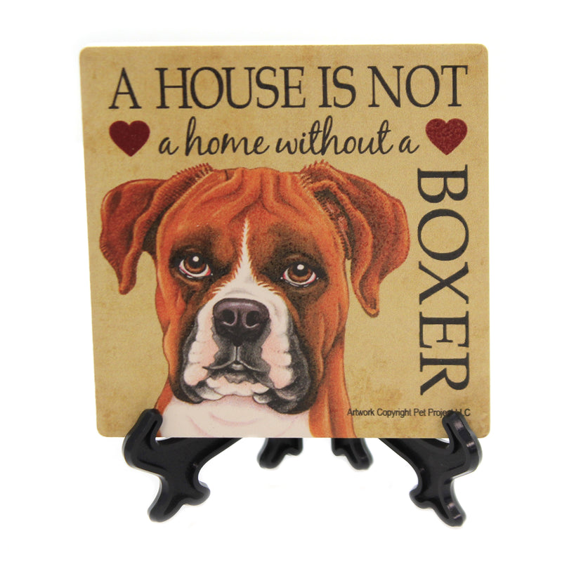 Animal BOXER - HOUSE Stone Stone Coaster Easel 24615