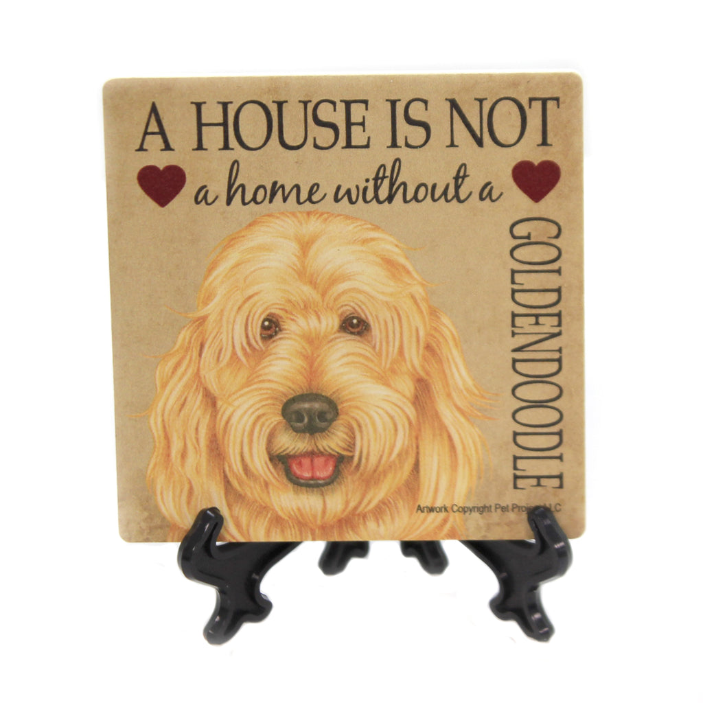 Animal GOLDENDOODLE Stone Cork Back Coaster Easel 24691