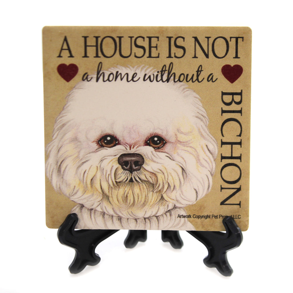 Animal BICHON - HOUSE Stone Stone Coaster Easel 24608