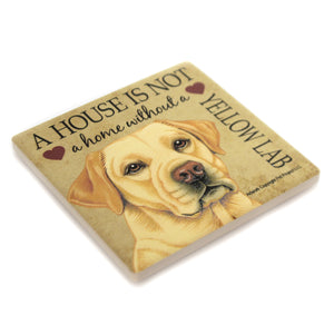 Animal YELLOW LAB HOME Stone Cork Back Coaster Easel 24677