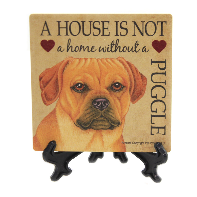 Animal PUGGLE - HOUSE Stone Stone Coaster Easel 24685