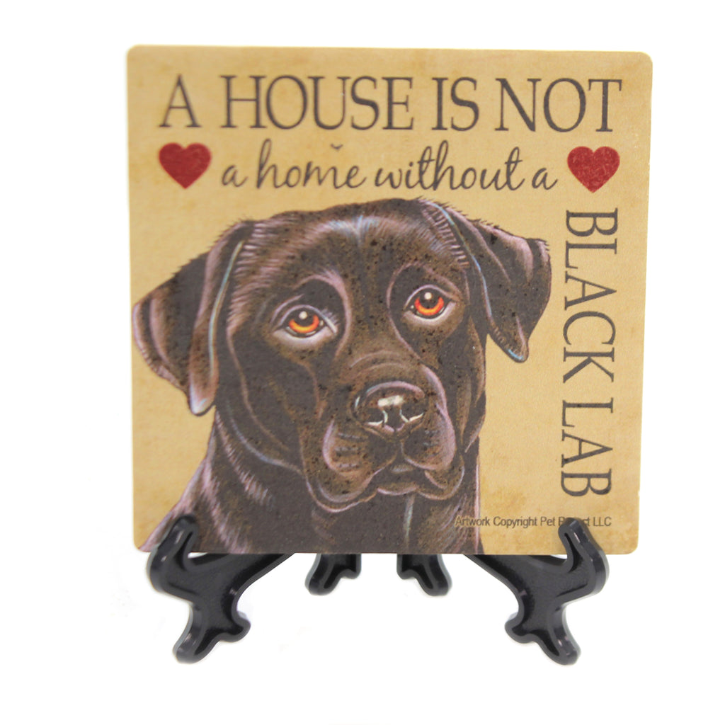Animal BLACK LAB HOME Stone Cork Back Coaster Easel 24610
