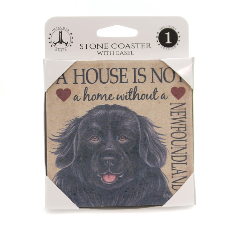 Animal NEWFOUNDLAND Stone Cork Back Coaster Easel 24648