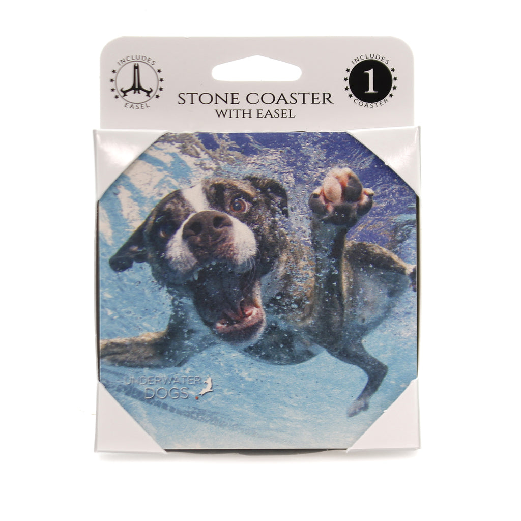 Animal BOXER MIX UNDERWATER. Stone Stone Coaster Easel 58604