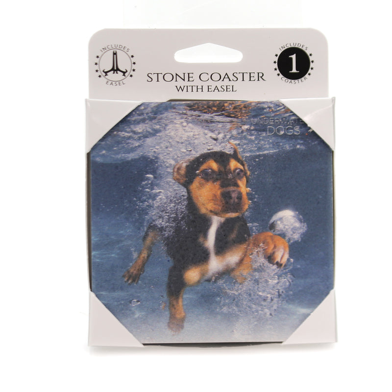 Animal TERRIER MIX Stone Cork Back Coaster Easel 58605