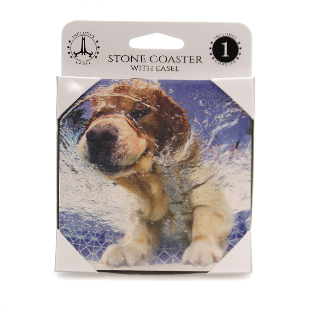 Animal GOLDEN RETRTIEVER Stone Cork Back Coaster Easel 58609