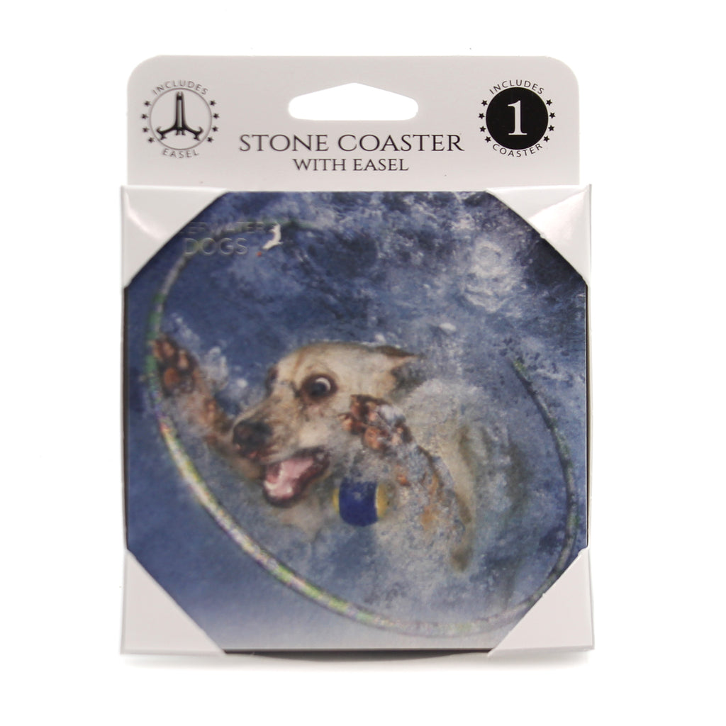 Animal YELLOW LAB UNDERWATER Stone Stone Coaster Easel 58610