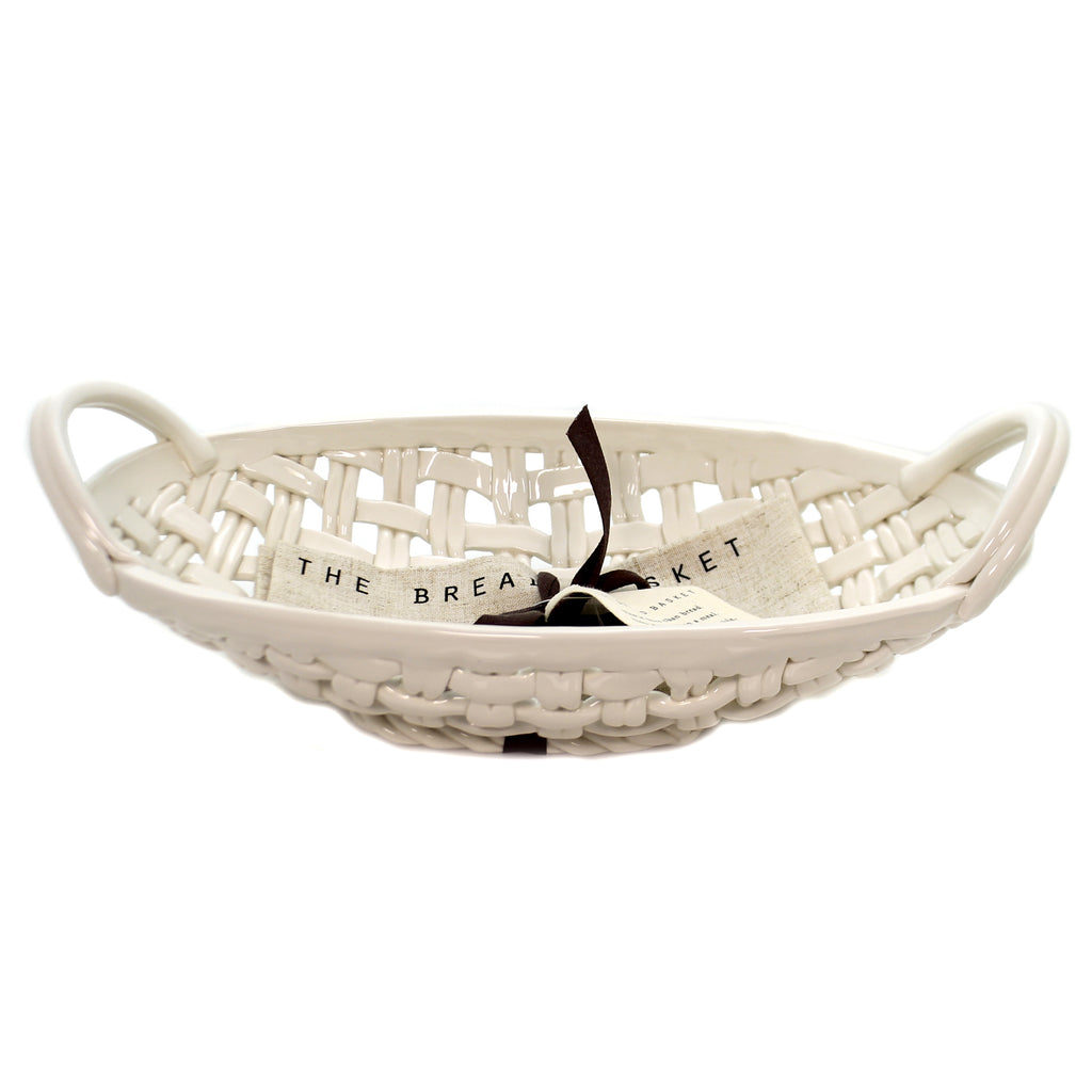 Tabletop CERAMIC BREAD BASKET W/ TOWEL Ceramic Gather Family 1004260106