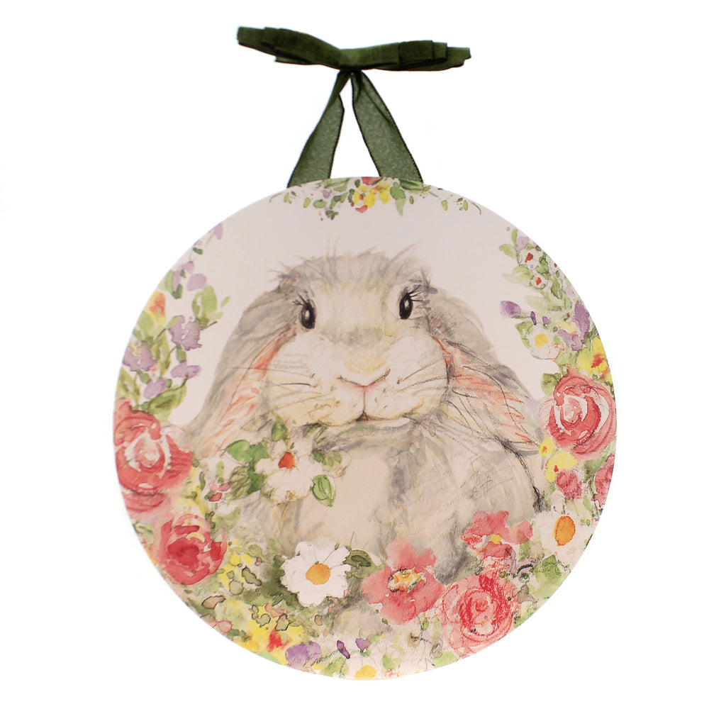 Home & Garden HELLO BUNNY DOOR DECOR Plastic Susan Winget Rabbit Flowers Dd1865