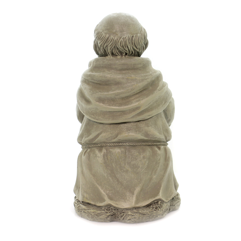 Home & Garden MONK WITH SHOVEL STATUE Polyresin Garden Yard Decor 15855