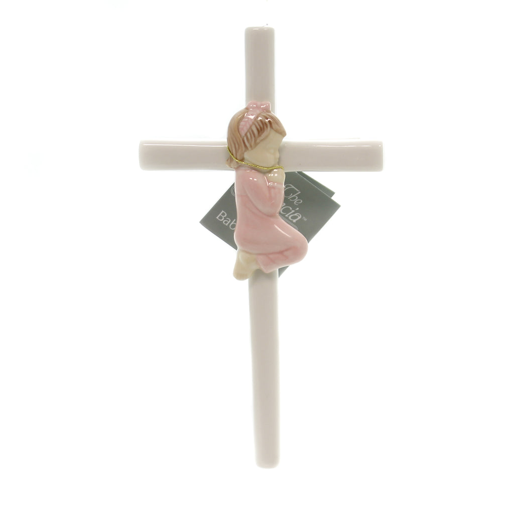 Child Related PRAYING GIRL CROSS Porcelain Delicate Soft Hues 57029G
