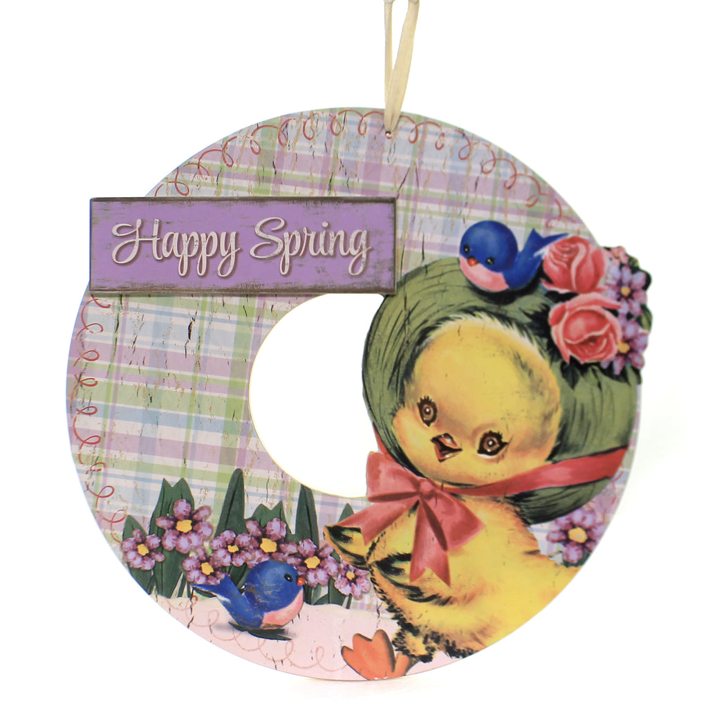 Easter SPRING WREATH Wood Chick Birds Flowers 101229
