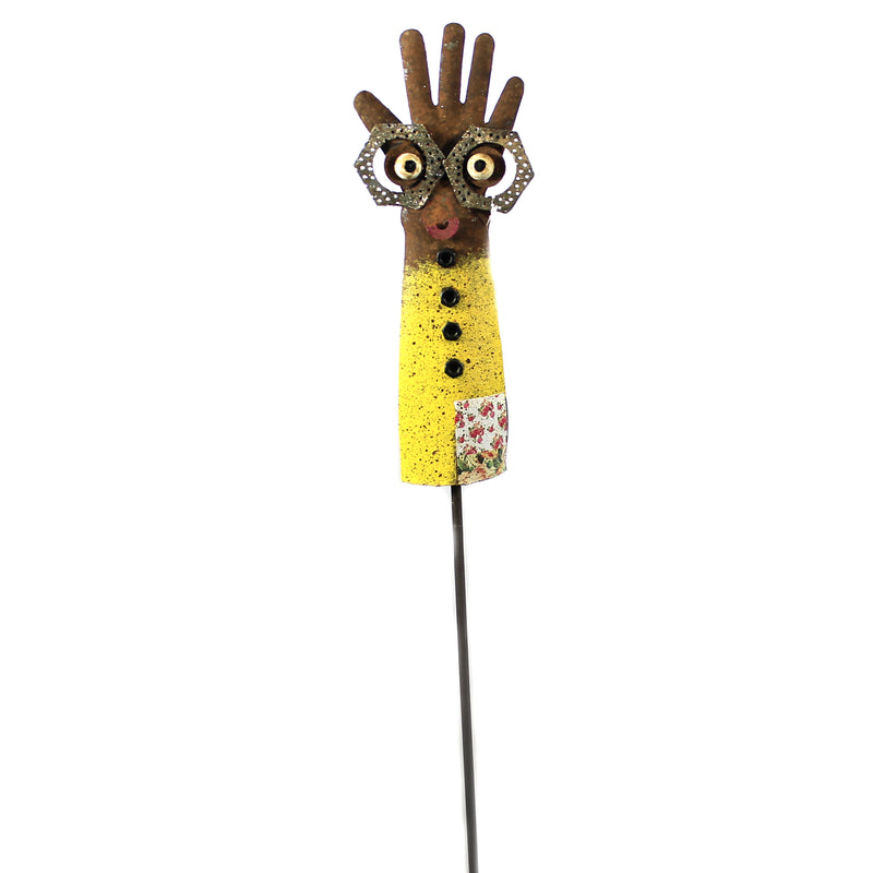 Home & Garden GROOVY GLOVE STAKE YELLOW Metal Handcrafted 12207.