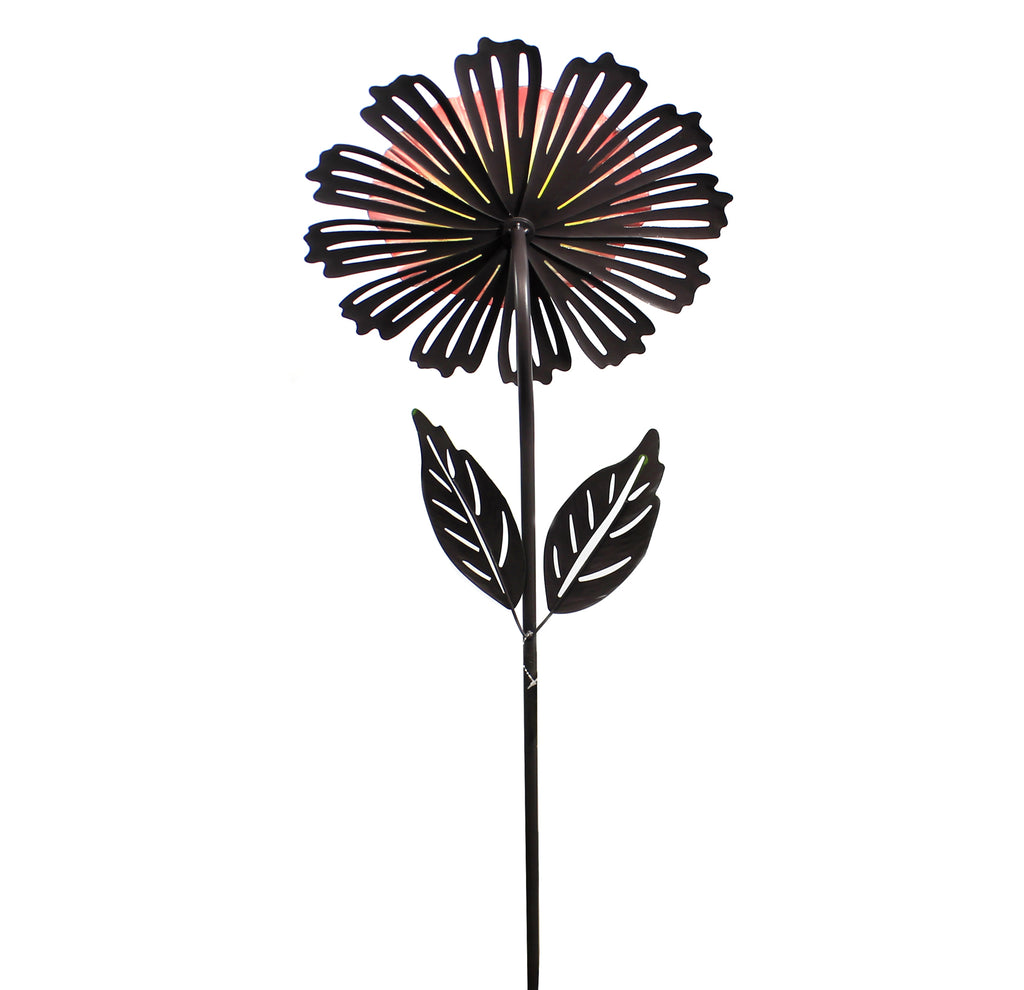 Home & Garden ORANGE COSMO FLOWER STAKE Metal Yard Decor 11695.