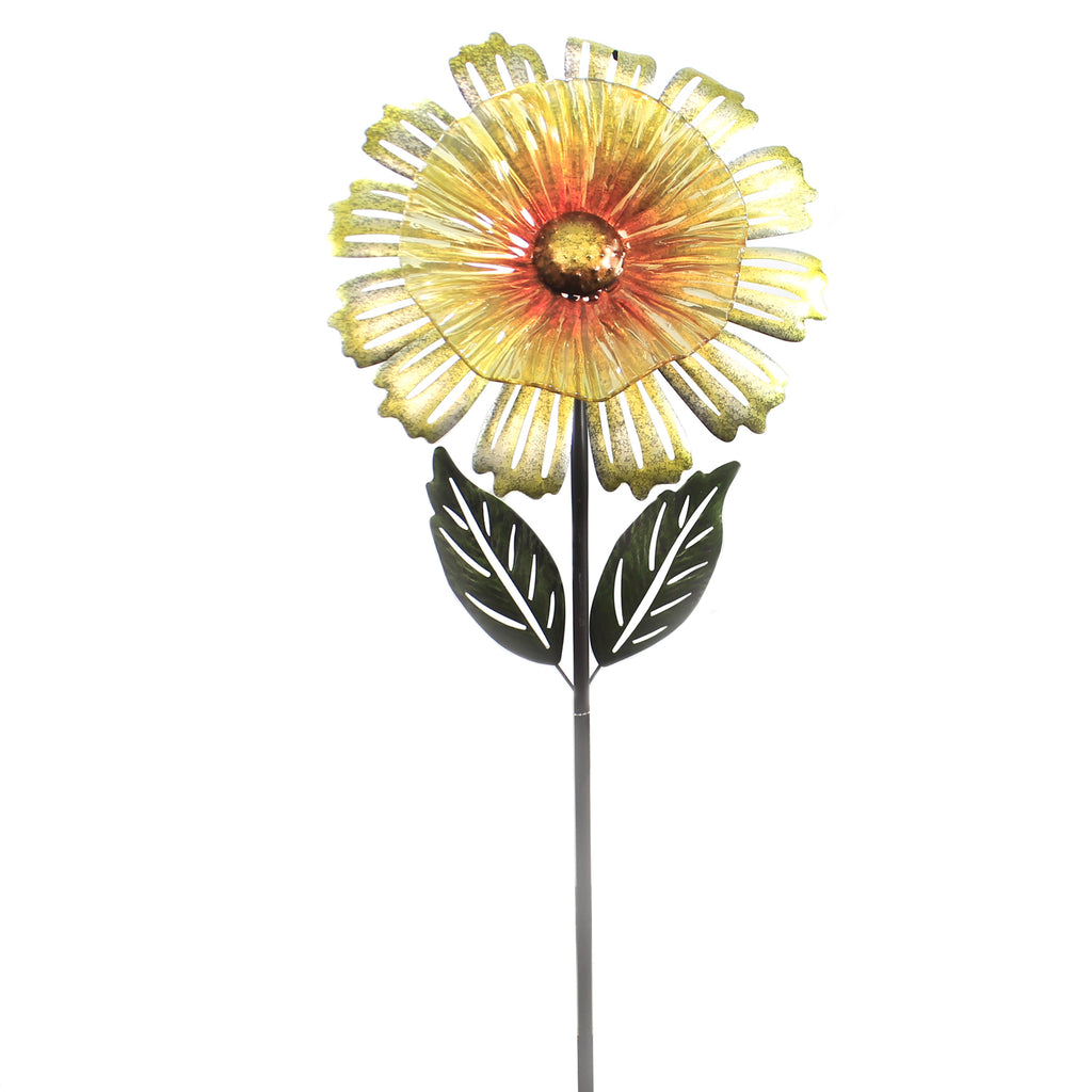 Home & Garden YELLOW COSMO FLOWER STAKE Metal Yard Decor 11697