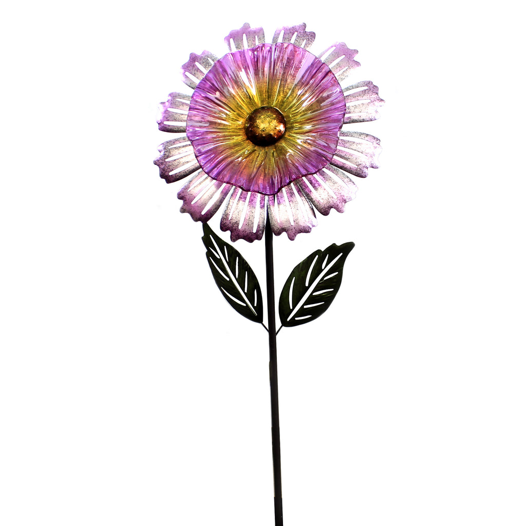Home & Garden PURPLE COSMO FLOWER STAKE Metal Yard Decor 11696