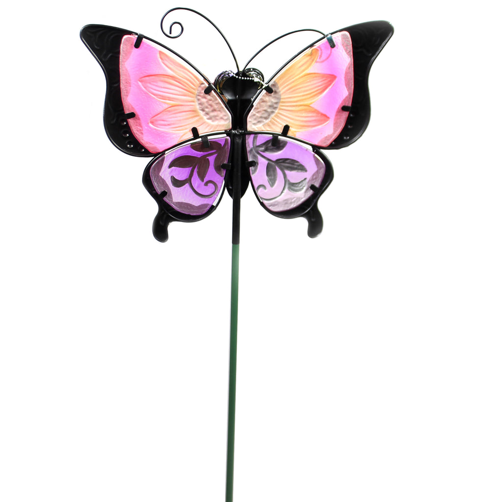 Home & Garden PURPLE FLORAL BUTTERFLY STAKE Metal Spring Yard Decor 10833