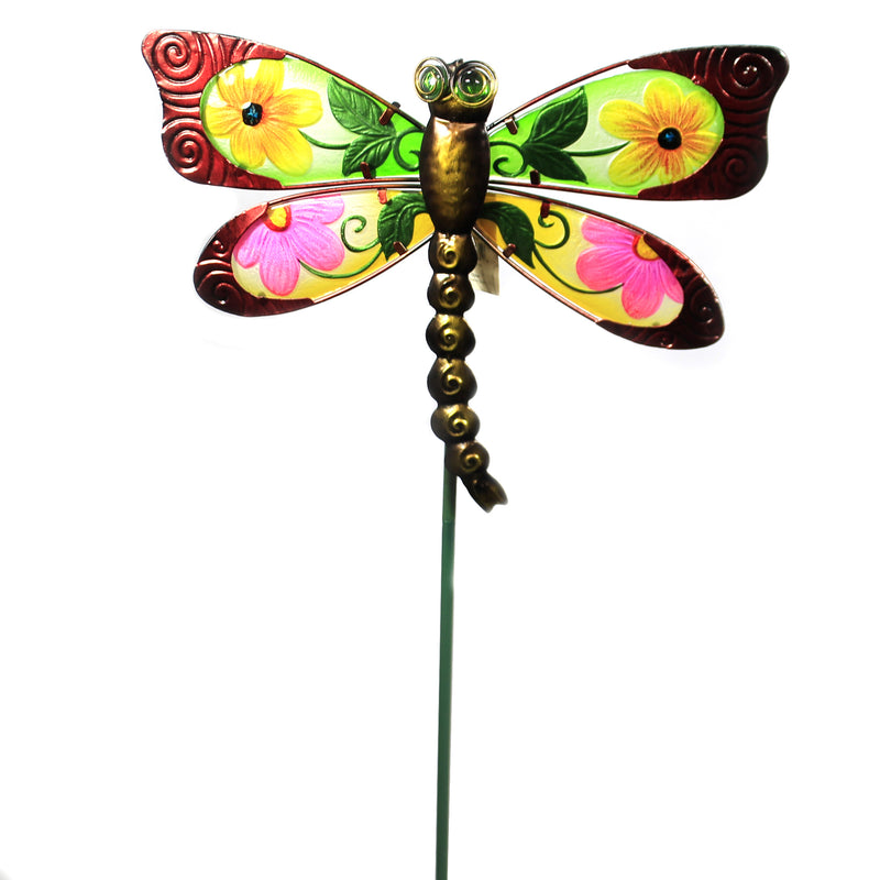 Home & Garden RED FLORAL DRAGONFLY STAKE Metal Spring Yard Decor 10835
