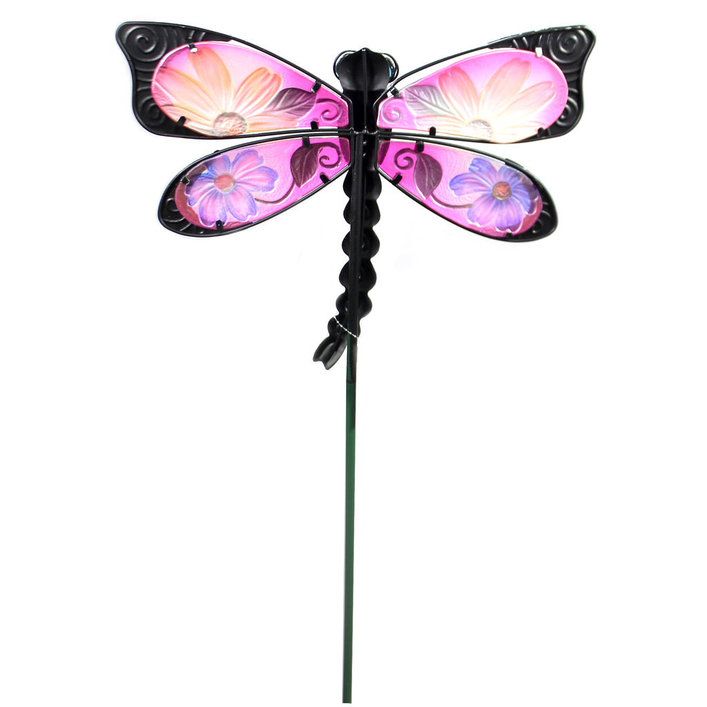 Home & Garden BLUE FLORAL DRAGONFLY STAKE Metal Spring Yard Decor 10834