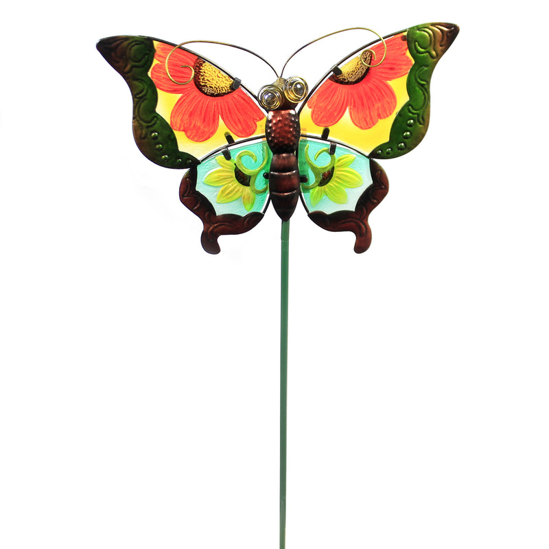 Home & Garden GREEN FLORAL BUTTERFLY STAKE Metal Spring Yard Decor 10832
