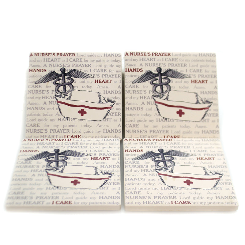 Tabletop NURSE'S PRAYER COASTERS Stone Cork Back Medical Ss73785