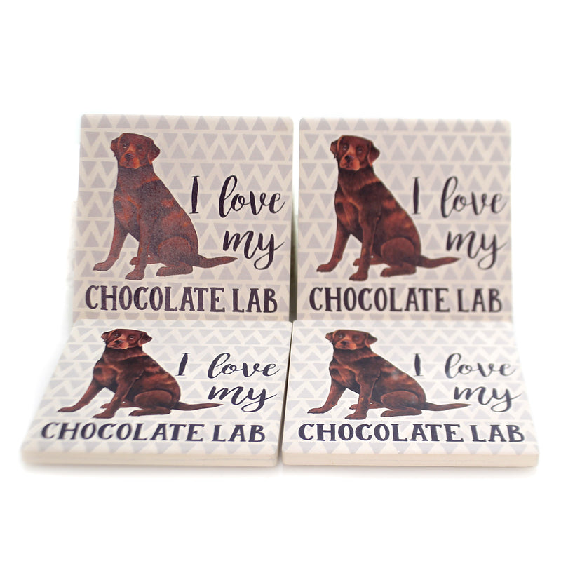 Tabletop CHOCOLATE LAB COASTERS Stone Cork Back Absorbent Ss73971