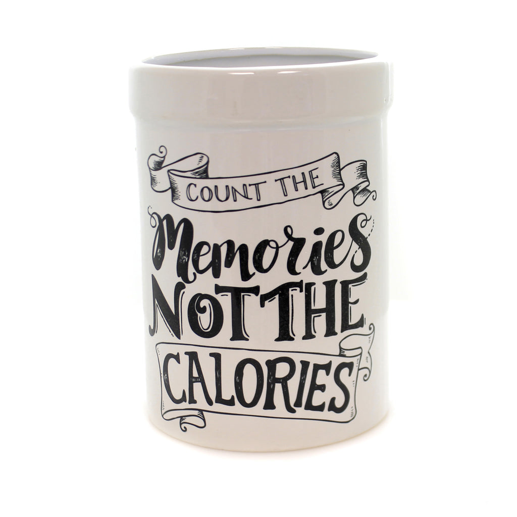 Tabletop COUNT MEMORIES UTENSIL CROCK Stone No Calories Kitchen 22754