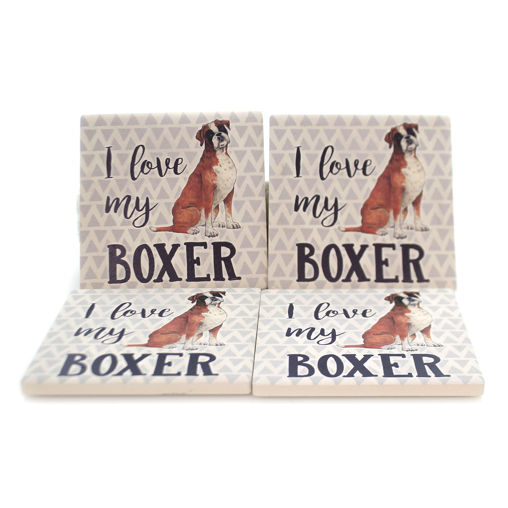 Tabletop BOXER COASTER SET Stone Cork Back Absorbent Ss79351