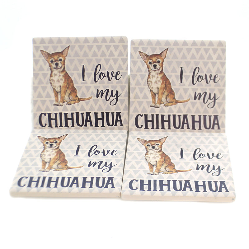 Tabletop CHIHUAHUA COASTERS Stone Cork Back Absorbent Ss73955