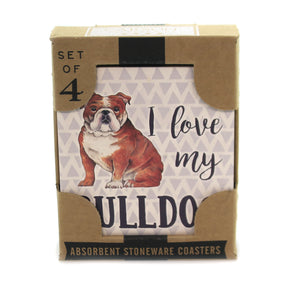 Tabletop BULLDOG COASTERS Stone Cork Back Absorbent Ss73953