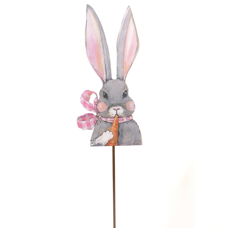 Easter FANCY GIRL RABBIT STAKE Metal Bunny Carrot Spring E19058