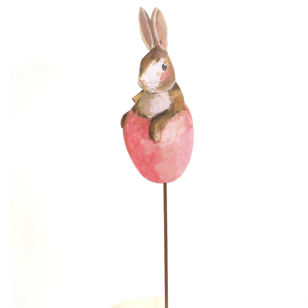 Easter GALLERY BUNNY IN EGG STAKE Metal Rabbit Garden Spring E19049