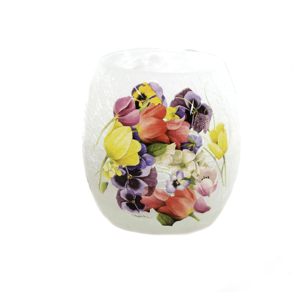 Stony Creek FLORAL BOUQUET PRE-LIT VOTIVE Glass Simmer Flowers Spring Mfb9252