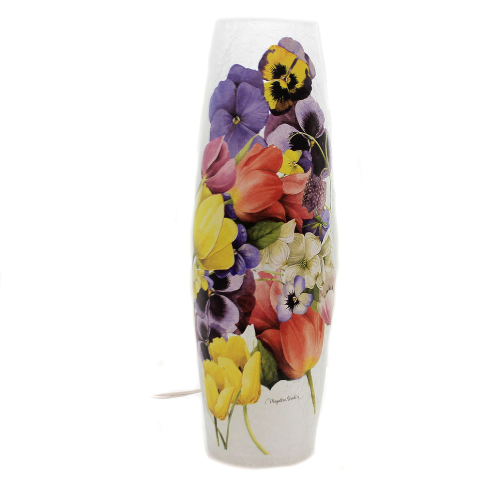 Stony Creek FLORAL BOUQUET PRE-LIT LG VASE Glass Spring Summer Flowers Mfb9209