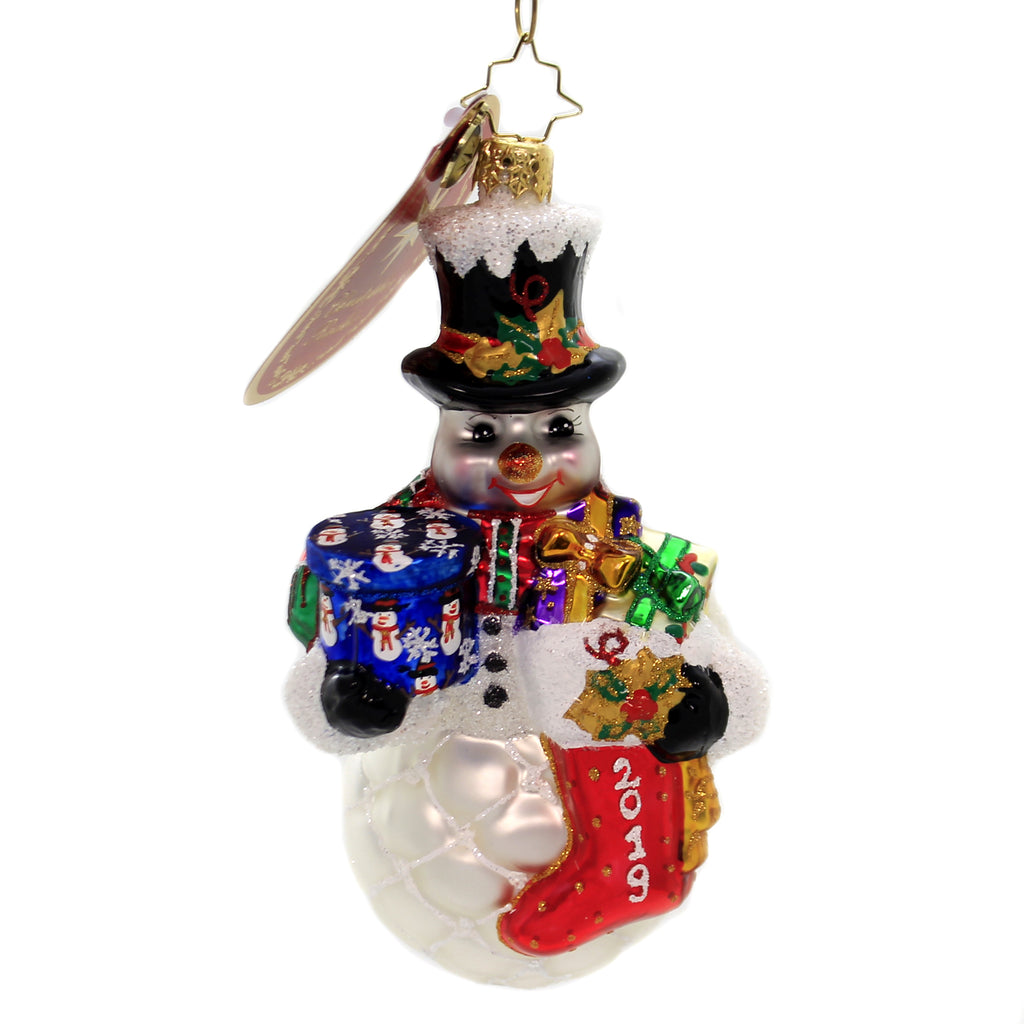 Christopher Radko FROSTY 2019 ARMFUL Ornament Dated Stocking Gifts 1019969