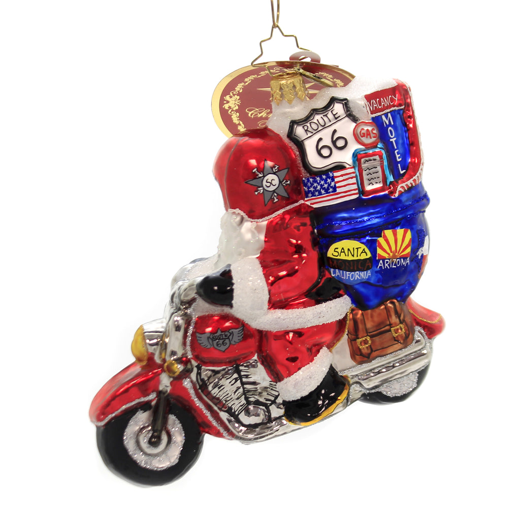 Christopher Radko MOTORCYCLE NICK Glass Ornament Route 66 Biker 1019688