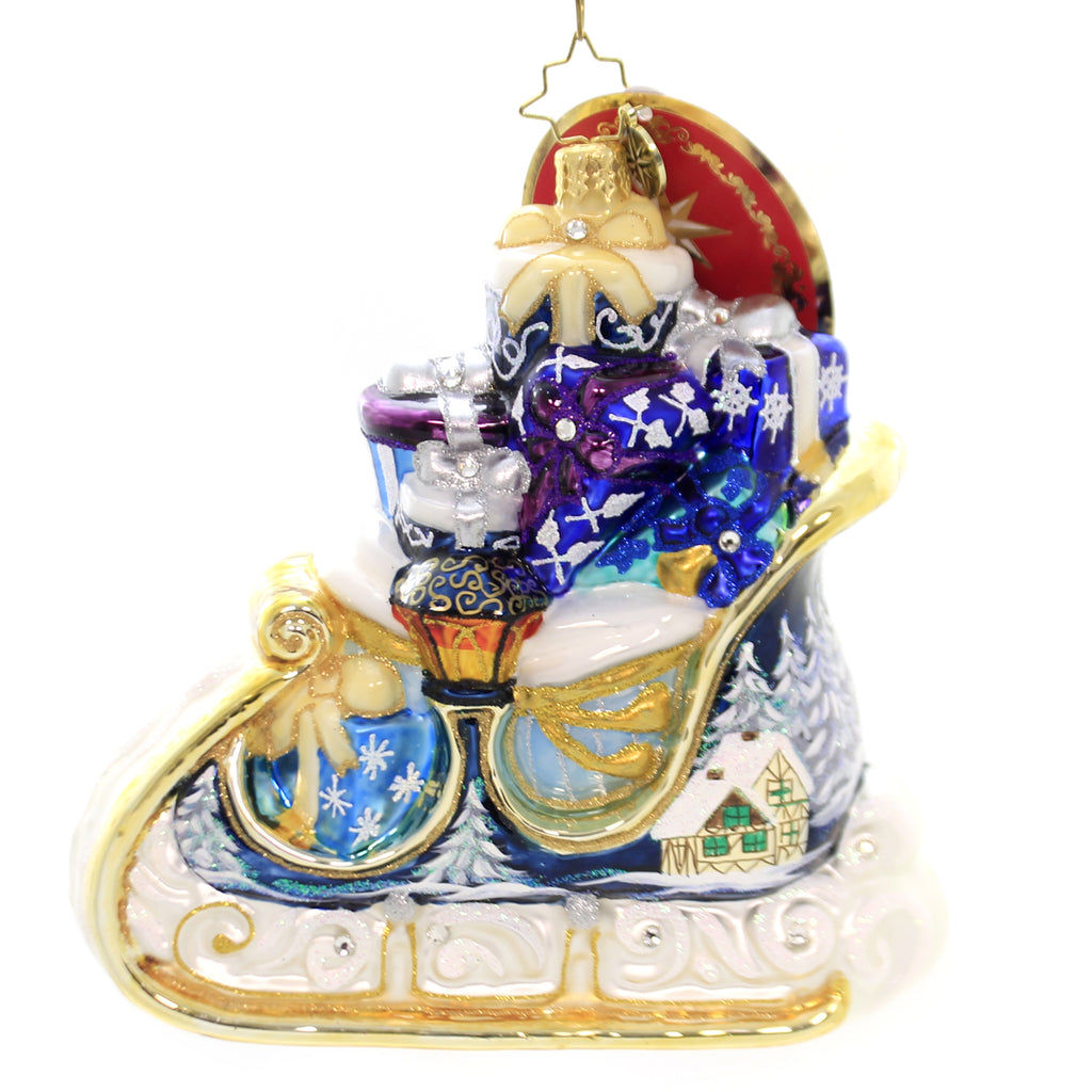 Christopher Radko WINTER TREASURES SLEIGH Glass Ornament Victorian Gifts 1019985