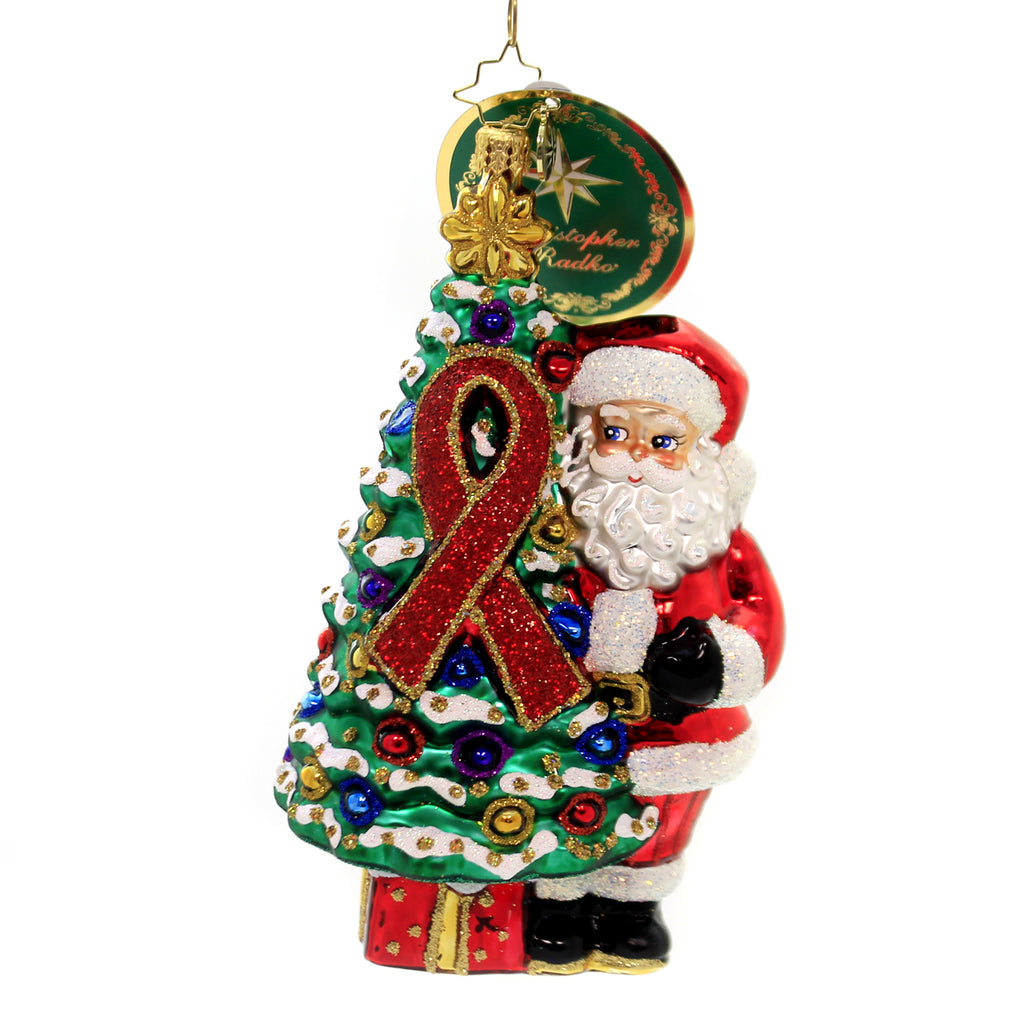 Christopher Radko AIDS AWARENESS CHRISTMAS TREE Ornament 2019 Red Ribbon 1020034