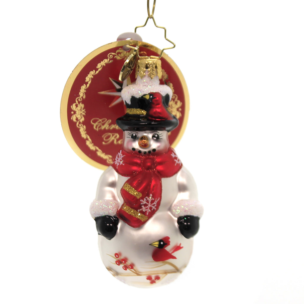 Christopher Radko CARDINAL KEEPER GEM Glass Snowman  Birds 1019729